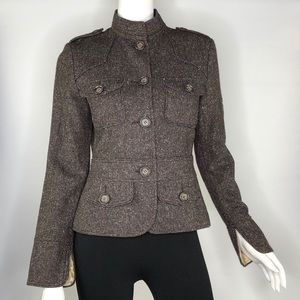 Zara Basic Lined Jacket With Button Down Front